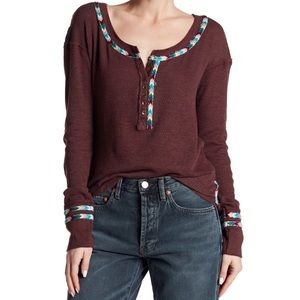 Free People | Thermal Henley Long Sleeve Top L